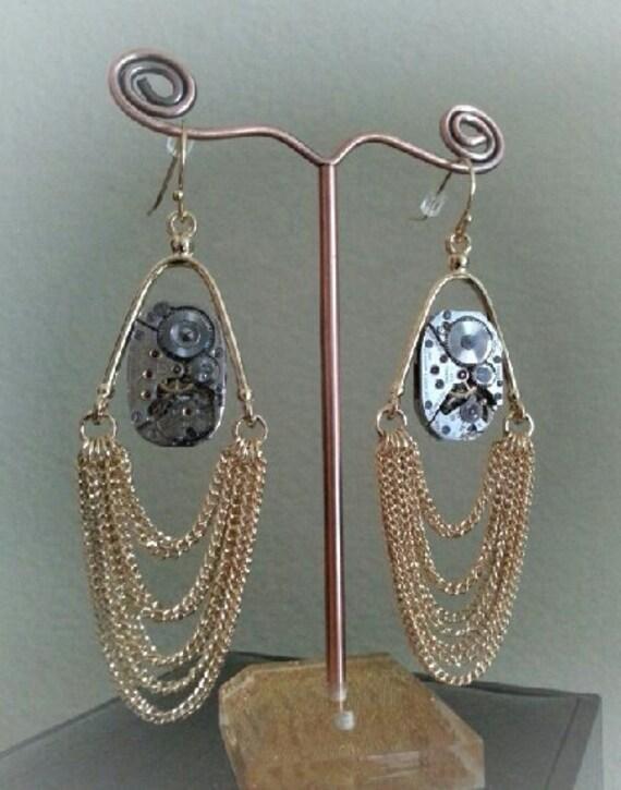 Beautiful watch gear, Steampunk style earrings