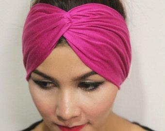 Pink Twist Turban Headband / Gypsy Headwrap Tribal Shocking Elastic and Soft