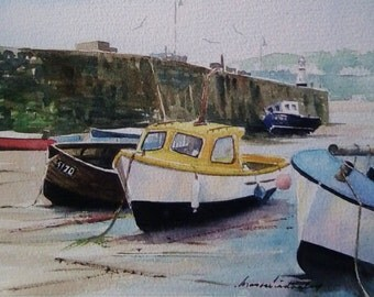 St Ives Harbour Wall, Cornwall, U.K. watercolour painting.