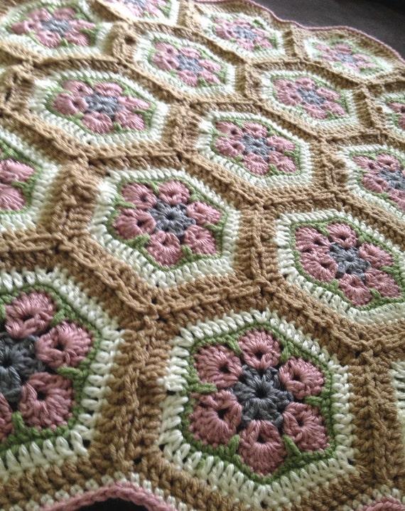 African Flower Crochet Baby Blanket Pattern : Crochet Baby Blanket Afghan and Baby Hat Set African Flower