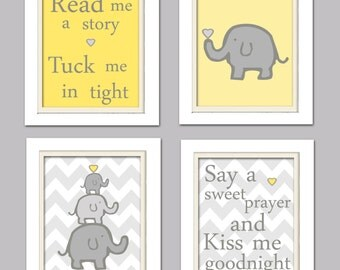 Nursery Quad, Yellow and Grey Nursery, Elephant Nursery, Set of 4 8X10, Yellow, Grey
