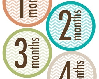 Printable monthly baby stickers Boy Chevron (newborn-1yr) INSTANT DOWNLOAD