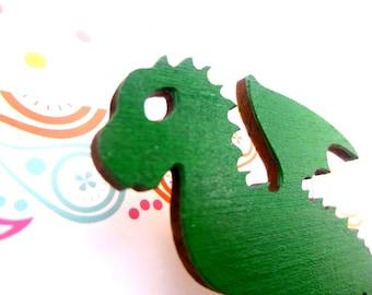 Green Baby Dragon Laser Cut Wooden Brooch