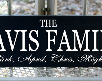 Personalized Family Name sign with all of the names in the family