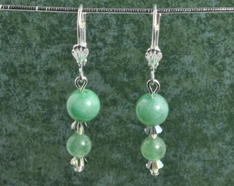 Green Adventurine Earrings with Swarovski crystal accents