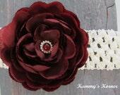 Peoni Flower Maroon/Bergundy Ivory Waffle Crochet Headband