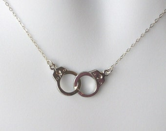 Silver Handcuff Necklace - Handcuff Pendant Necklace - Sterling Silver Necklace - Handcuff Steampunk Necklace - Steampunk