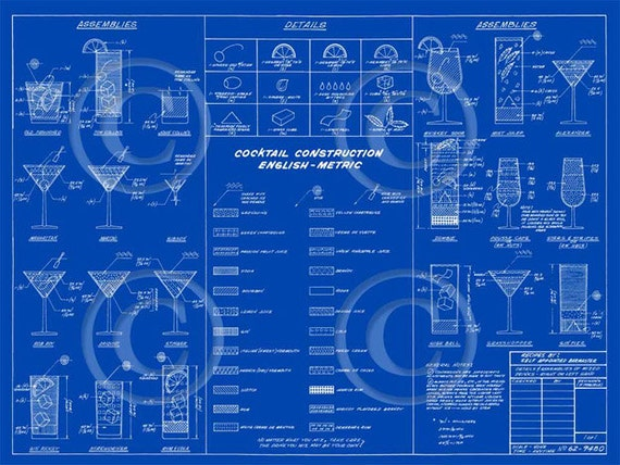 Crate AND Barrel Style Blue Martini cocktail construction recipe layout blueprint bar art drafting type fine art print poster