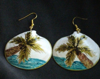 Green and Gold Palm Tree Earrings