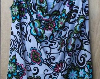 Multicolor Cowl Neck Sleeveless Top