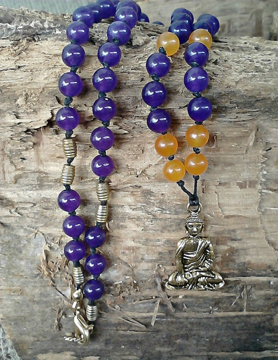 Amethyst and Jade Buddha Necklace