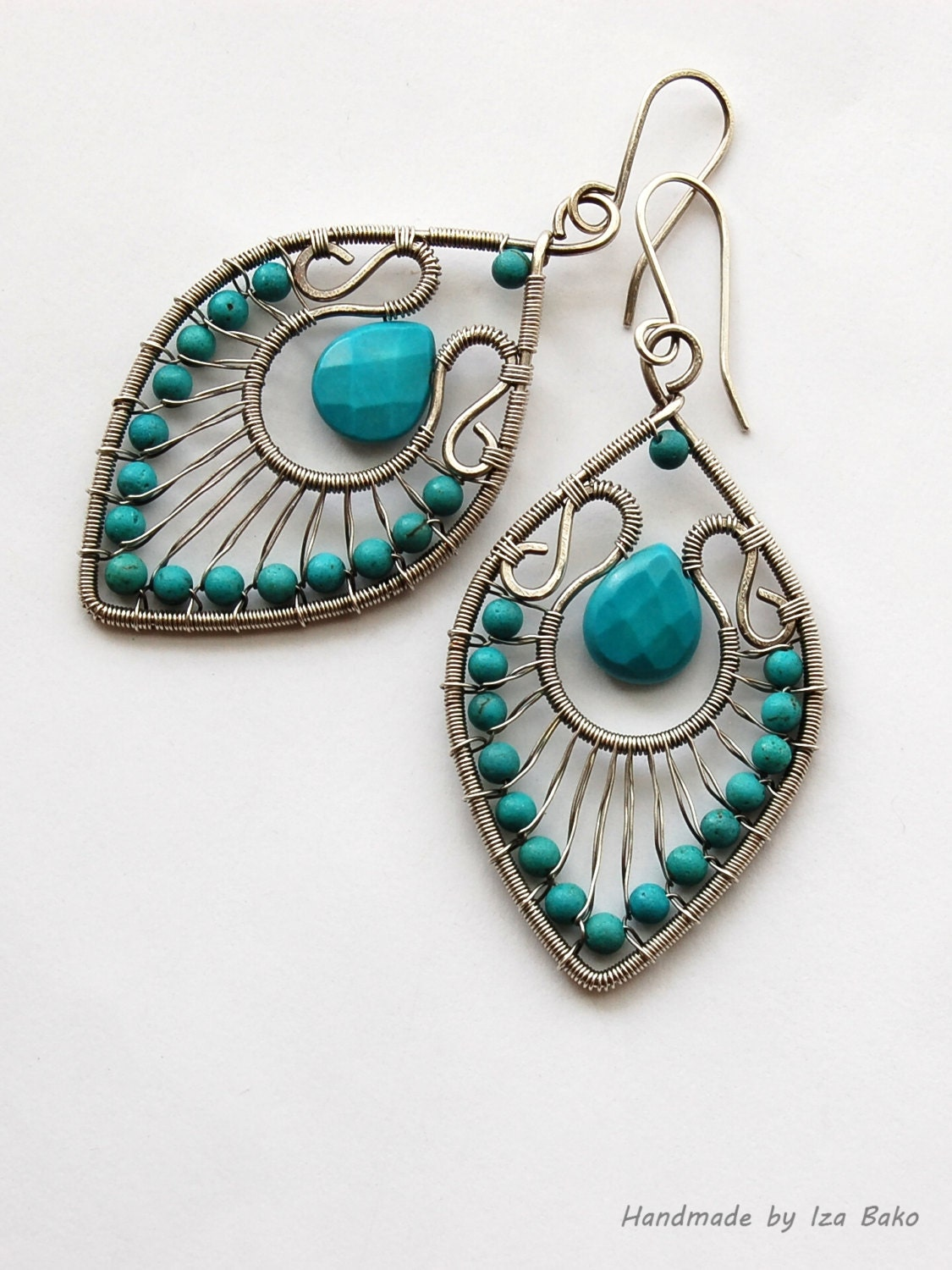 made earrings handmade wire wrapped statement earrings with turquoise 3684