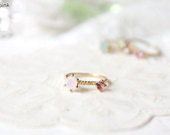 By My Side 14K Gold Swarovski Crystal / Pearl Ring