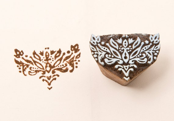 Geometric pattern hand carved wood stamp