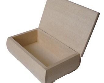 Wooden Jewellery/ Trinket Box- 14x 9 x 5.8cm Decoupage Art Craft