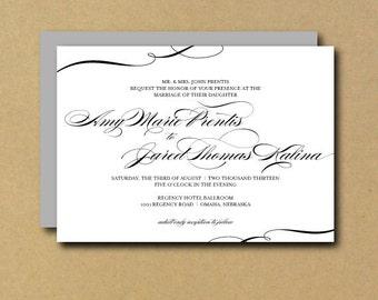 Custom Printable Wedding Invitation - Swirl Calligraphy