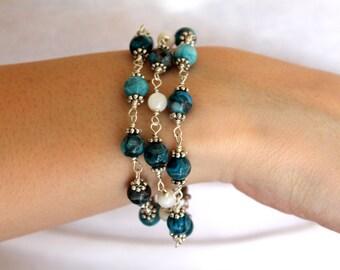 Triple Wrapped Beaded Bracelet, Blue Agate Gemstones, Silver Wire Wrapped Bracelet, Modern Gemstone Bracelet
