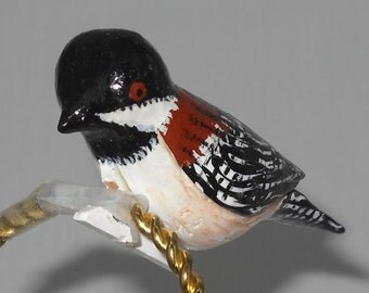 Carved Wood Bird Christmas Ornaments, Chestnut-backed Chickadee, CCO-22