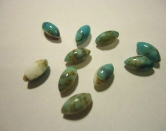 Light Blue Speckled Opaque Glass stone Navette 9mm x 5mm - 10 pieces