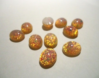 Vintage Glass Fire Opal 10mm x 8mm Oval Flat Back Cabochon Stone - 2 pieces