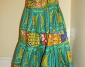 Patchwork African print long skirt
