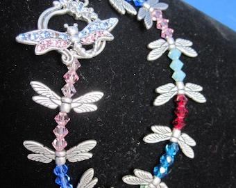 Dragonfly and Swarovski Crystal Bracelet Size 6.5 inches