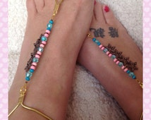 Pair of beaded barefoot sandals, pink and aqua, copper stars, gold elastic anklet