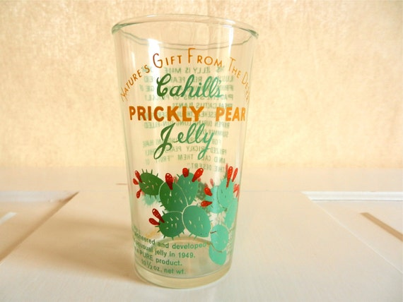 Vintage Hazel Atlas 1950's Jelly/Juice Advertising Glass, Cahill's Prickly Pear Jelly