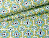 Organic Cotton -Flowerbed Teal - Monaco Collection Monaluna - 1/2yd