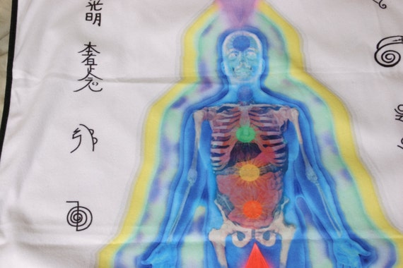 WHITE Reiki Distant Healing Blanket for Energy Healers or Reiki Students w/ SYMBOLS, Distance