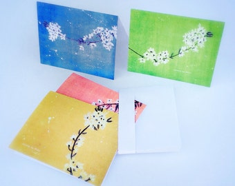"Set of Blank Cards - ""Blooms on Brilliant Colors"" by Amy Finchum - Cherry Blossom Floral Watercolor Card, Flower Blooms Watercolor Card"