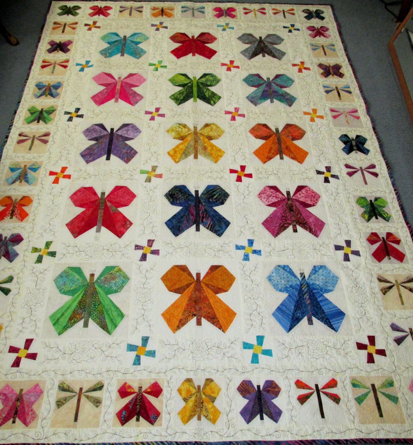 Batik Butterfly Garden Quilt With Dragonflies And Flowers In