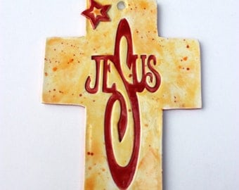 Hanging Ceramic Wall Cross