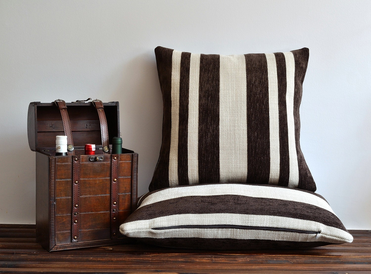 Modern Decorative Striped Pillow Cover Brown Ivory Stripe