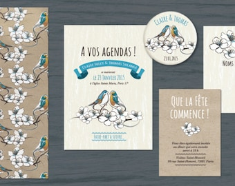 Lovely Birdies Wedding Invitation to be personnalized. Romantic blue birds.