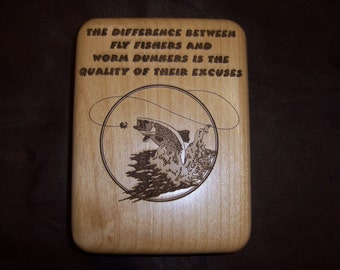 Fishing Fly Holder Box Jumping Trout Laser Engraved and Personalized
