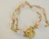 Coral and Cherry Quartz Double Stranded Bracelet