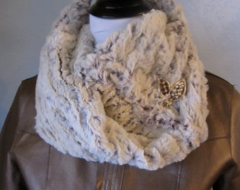 Free Shipping - Faux Fur Infinity Scarf in Winter White and and Brown