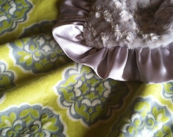 Silvery Gray and Citron Green Yellow Minky Blanket with Silvery Satin Trim
