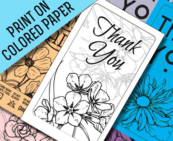 Line Art Thank You : Thank you card printables black line art to print on colored