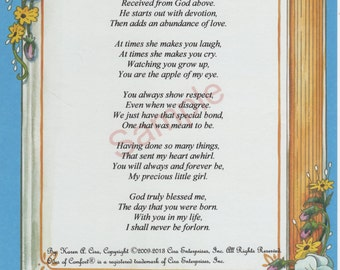 "Five Stanza ""What Is A Daughter"" Poem shown on ""Memories"" Background"