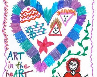 "Doodle Art Print -- ""ART in the heART"""