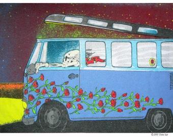Grateful Dead T Shirt  VTG Style 1990  Dead Tour On the Bus