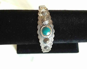 Faux Turquoise Brass Bracelet