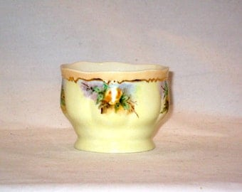 Small China Vase, Handpainted, Yellow Roses