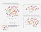Pink and Mint  Floral Wedding Invitation Suite (Printable) - save the date, rsvp, reply, favor tag, wedding stationery set