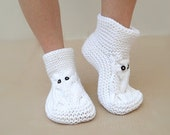 Knit Owl Slippers, White Slippers, Soft Slippers, Knit Slippers, House Slippers, Unisex