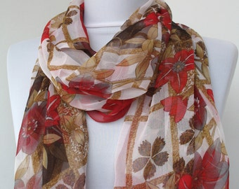 ON SALE - Silk Floral Fashion Scarf - Multicolor Scarf - Trendy Fabric Scarf - Shawl Flower Garden - 516