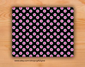 Mousepad Black White Pink Polka Dots