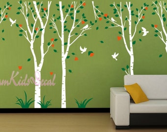 Nursery wall decal baby wall decal children wall decal room vinyl decal branch wall decal trees decal birds-5 Birch Tree with Flowers-DK015